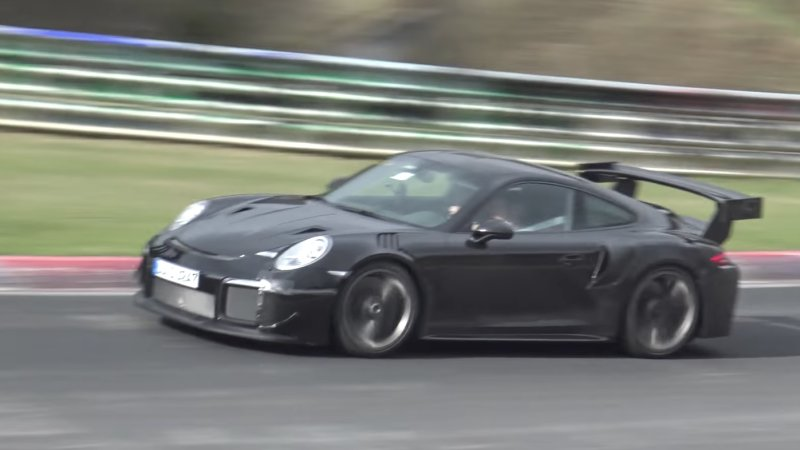 upcoming 2018 porsche 911 gt2 rs caught testing at nurburgring cab713. Black Bedroom Furniture Sets. Home Design Ideas